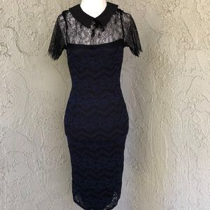 Bloomingdale's Navy Lace Collared Pencil Dress NWT